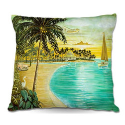 DiaNoche Designs - Pillow Woven Poplin by Mark Watts Tropic Cove - Toss this decorative pillow on any bed, sofa or chair, and add personality to your chic and stylish decor. Lay your head against your new art and relax! Made of woven Poly-Poplin.  Includes a cushy supportive pillow insert, zipped inside. Dye Sublimation printing adheres the ink to the material for long life and durability. Double Sided Print, Machine Washable, Product may vary slightly from image.