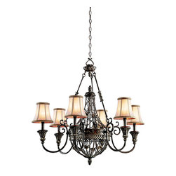 Kichler 6-Light Chandelier - Terrene Bronze - Six Light Chandelier. The Marchesa collection features European inspired silhouettes cast in a soft terrene bronze finish. The ornamental basket design is intricately detailed with swirling textures and botanical accents. Make a dramatic statement with this 6 light chandelier with golden camel tone-on-tone fabric shades. 33 inch diameter. Body height 31.5 inches. Overall height 105.5 inches. Includes 48 inches of extra lead wire and 6 feet of chain. Uses 6 - 60w max bulbs. For additional chain, order 4901trz