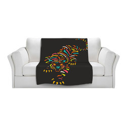DiaNoche Designs - Throw Blanket Fleece - Tiger Brown - Original artwork printed to an ultra soft fleece blanket for a unique look and feel of your living room couch or bedroom space. Dianoche Designs uses images from artists all over the world to create Illuminated art, canvas art, sheets, pillows, duvets, blankets and many other items that you can print to. Every purchase supports an artist!