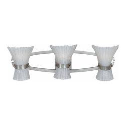 Triarch International - Triarch 23173 Bali Brushed Steel 3 Light Vanity - Triarch 23173 Bali Brushed Steel 3 Light Vanity