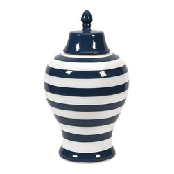 iMax - iMax Hudson Large Striped Lidded Urn X-08578 - The large Hudson lidded urn features bold stripes in a stark navy and white contrasting color scheme. Pair with its smaller counterpart for a striking set of conversation pieces.