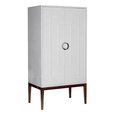 Worlds Away - Worlds Away White Lacquer 2-Door Armoire MILES WHN - White Lacquer 2 Door Armoire with Hardwood Base & Nickel Hardware