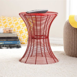 Southern Enterprises - Metal Spiral Accent Table - Red - Red finish. Max weight capacity: 100 lbs.. Constructed of solid iron wire and indoor/outdoor, powder-coated finish. Light assembly required. 14.75 in. W x 14.75 in. D x 18.5 in. H (14.75 in. DIA x 18.5 in. H). Middle: 8.5 in. DIA. Base: 14.75 in. DIANeed something bold to energize your family room or patio? A modern, contemporary design and striking red finish make this wire accent table a magnificent addition for any home. Designed with layers of wire and beautiful curves, this table is both functional and stylish. The round table surface is 14.75 inches across, making it the perfect size for holding the essentials or decor without collecting clutter. This accent table is made of solid iron wire with a powder-coated finish for indoor or outdoor use. Whether you place this accent table beside your sofa or on your patio, it is sure to enhance the area. Try working with symmetry and balance by using more than one in a room or patio!
