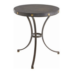 Arteriors - Xander Side Table - The decor equivalent of the little black dress, this three-legged table is an absolute must for your favorite setting. A round top of honed black marble sits in an iron frame studded with brass accents.