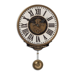Old World Gears Cream Pendulum Wall Clock - *Weathered, laminated clock face with a cast brass outer rim, brass center components and pendulum.