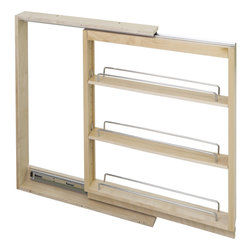 Hardware Resources - Base Cabinet Filler Pullout.  3 x 23 x 30 - Base Cabinet Filler Pullout.  3 x 23 x 30.  Featuring 100# full extension ball bearing slides  adjustable shelves  and clear UV finish.  Species:  Hard Maple.  Ships assembled with removeable shelves and shelf supports.