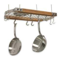 None - J.K. Adams Mini Ceiling Oval Pot Rack - Maximize the space in your kitchen with this durable ceiling pot rack by J.K. Adams. This beautiful,oval rack is constructed from hard wood and consists of cast-metal details and hooks,giving your kitchen an easy updated look and feel.