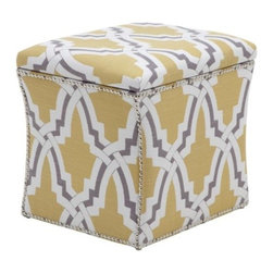Z Gallerie - Storage Ottoman - Linx - You will not want to hide this storage piece in the corner. Sharp and shapely lines highlight its modern hourglass figure, allowing our Storage Ottoman to stand alone as an attractive accent piece. Upholstered in a large link pattern in chic current shades of pewter and citrus with polished nickel nail heads will give any room a modern and sophisticated touch. Most importantly, our Storage Ottoman distinctly functions to conceal blankets, laundry or any items that may hamper the charm of your home.