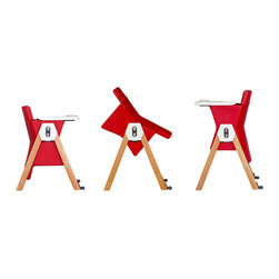 Hilo - HiLo Highchair by Patrice Guillemin, Raspberry / Beech - Meet the brand new HiLo kids chair! A colorful, dual-height kids' chair that combines contemporary design with simplicity and functionality. Designed by AGE Design, creator of modern, intelligently designed children's products. The chair serves parental aesthetics for modern interiors, while keeping toddlers well seated from 6 months to 5 years.