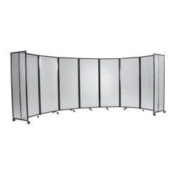 Versare Plastic Indoor/Outdoor Mobile Folding Room Divider - 8.5W ft. - With its sleek polycarbonate panels and quality construction the Versare Plastic Indoor / Outdoor Mobile Folding Room Divider will stand up to heavy use in both indoor and outdoor settings. This expandable room divider features a lightweight waterproof impact-resistant and translucent polycarbonate core with a durable aluminum frame. Tough enough for factory use the fluted polycarbonate panels offer outstanding sound insulation and toughness providing greater protection against breakage. The impact strength is 10-17 times that of Plexiglas. The panels are also fire retardant and allow 12%-82% light transmission depending on color chosen. Perfect for any patio deck food service area office or bedroom this contemporary room divider is equipped with casters for easy mobility. Patented full-panel end members provide additional stability and safety by eliminating areas that children could stand trip or ride on. The panels slide together to the width of a single panel which makes for convenient storage. When fully extended this portable wall measures 8.5 feet long. Choose from 72- 82- and 90-inch heights to suit your setting. About VersareVersare Portable Products is a cutting-edge corporation that specializes in the manufacture marketing and distribution of portable products designed for efficient space utilization. Schools churches offices hotels arenas homes and commercial facilities continue to benefit from the versatile designs of Versare's portable partitions blockaids boardrooms and wallbeds. Versare (named for the Latin word for versatile) was selected by Inc Magazine's Inc 5000 as one of the nation's fastest growing companies in 2006 and 2007. Versare is located in Minneapolis Minn.