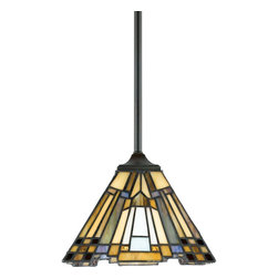 Quoizel - Quoizel TFIK1508VA Inglenook Traditional Tiffany Mini Pendant Light - A classic geometric Arts & Crafts piece with handcrafted art glass in shades of sapphire blue, warm honey, amber and cream.  Arts and Crafts is an enduring style that honors the tradition of fine craftsmanship and attention to detail.  This piece is a great way to light up a kitchen island or a pool table with style.