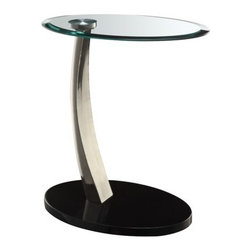 Powell - End Table - This Chairside Table adds function and style to any room. The sleek design is finished in 'Brushed Chrome' with black poly base and clear glass top. The perfect table for any chair or sofa side, sure to fit into any decor. Features: -Satin plated metal legs with glossy black base.-Clear tempered glass top.-Adds function and style to any room.-Brushed Chrome finish.-Distressed: No.Dimensions: -Overall Product Weight: 17 lbs.