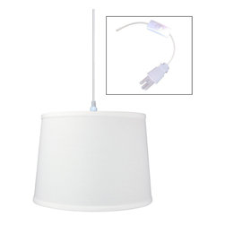 "Home Concept - 1-Light Plug-In Swag Pendant Lamp White 12x14x10 - Plug In Swag Pendant - The perfect addition to any dark corner, or above a table that the builder didn't provide electrical wiring. You will love your swag pendant light because it can move anywhere and put the light exactly where you need it. Wondering about size?  Simply add the length and width of your space and that will give you the maximum bottom width of your pendant. If your swag is not centered in the room, you should likely use smaller measurements to define the ""space"" you are lighting up.      Why Upgrade to Home Concept Signature Pendants?       Top Quality Premium Lampshades means your room will glow with a rich, warm luster your guests will notice.  Plus we include upgrades like a premium inner lining and dual bulb clips so your new shade will last for years.      Heavy brass and steel frames mean you can feel the difference when you lift it."