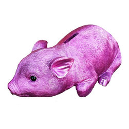 Interior Illusions - Piggy Bank Sitting - Decorate your desk or bookshelves with this fuchsia pink piggy bank. Handmade with realistic detail, the Piggy Bank Sitting features a bright pink chrome finish and removable coin stop. Pair it with modern decor for a bold look.