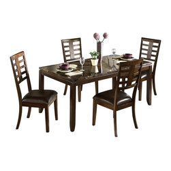 Standard Furniture - Standard Furniture Bella 5-Piece Dining Room Set with Faux Marble Top - The sleek contemporary lines of Bella will enhance any modern living environment. Simulated marble top is durable and elegant while enhancing the walnut colored finish. Quality veneers over wood products and select solids used throughout. Group may contain some plastic parts. Walnut color finish with faux marble travertine color tops.