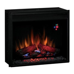 Classic Flame 23 in. Electric Fireplace Insert with Backlit Display - Fireside chats without the mess of a traditional fireplace - thank you, Classic Flame 23 in. Electric Fireplace Insert with Backlit Display. Low-energy, all-LED technology saves on those power bills, and that's just the beginning with this fireplace. The digital thermostat provides a numerical readout, while the electronic timer has an automatic shutoff that can range from 30 minutes up to nine hours. SpectraFire flame effect technology offers five different brightness settings, and you can run it all without leaving your chair thanks to the included multi-function remote. Designed for retrofitting into existing masonry or a freestanding cabinet.Twin Star products include a 1-year limited warranty, guaranteeing workmanship and material quality for 1 year from the date of purchase, assuming normal use. Please contact Twin Star at 866-661-1218 or our Customer Care Center for service issues and questions regarding product guarantee.