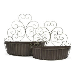 iMax - Avellino Wall Planters, Set of 2 - Featuring scrolled iron designs, this set of two wall planters are a great way to add organic elements to any room. Simply hang on the wall and use to display your favorite trailing greenery.