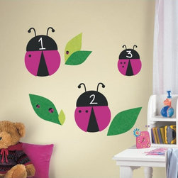Roommates Decor - One Decor Lady Bug Chalk Giant Peel & Stick Wall Decals - These friendly black and pink ladybugs aren't just cute - they're also fully functional chalkboards! Delight your little ones with these removable and repositionable ladybug wall decals. Stick them to any smooth surface, including walls and furniture, and write on them with chalk. You can even add an 8.5 One Decor shelf to make them functional bookshelves! Use your imagination to create a fun design in any bedroom or play area.