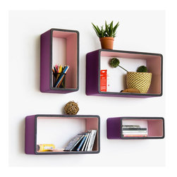 Blancho Bedding - [Purple Mood]Rectangle Leather Wall Shelf / Bookshelf / Floating Shelf(Set of 4) - These beautifully crafted Rectangle Wall Shelves display the art of woodworking and add a refreshing element to your home. Versatile in design, these leather wall shelves come in various colors and patterns. They spice up your home's decor, and create a multifunctional storage unit for all around your home. These elegant pieces of wall decor can be used for various purposes. It is ideal for displaying keepsakes, books, CDs, photo frames and so much more. Install as shown or you may separate the shelves to create a layout that suits your taste and your style. You can hang them on the wall, or have them stand on table or floor, or any way you like. Each box serves as a practical shelf, as well as a great wall decoration.