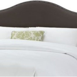 Skyline Furniture - Tara Headboard in Pewter - Add the perfect finishing touch to your bed. A rich pewter coloring and beautiful nail head detailing on 100% polyester velvet-like material is an elegant addition to your bedroom.