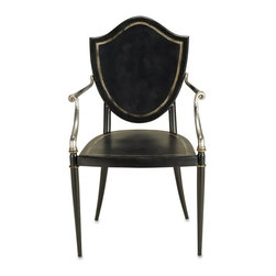 """Currey and Company - Bel Aire Chair by Currey and Company - The strong simple lines of the chair's shield back design make a strong statement in any setting, interior or exterior. Crafted of wrought iron with a weather resistant finish in black, gold, and silver. It may be used outside in protected areas. Try this in a foyer with a beautiful throw draped over the arm or a fantastic pillow leaning in the corner. Take a look at our awesome selection of these items. (CR) 22"""" wide x 22"""" deep x 37"""" high; seat: 19"""" deep x 17"""" high"""