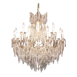 "The Gallery - Chandelier U Drops Chandeliers Waterfall H36"" X W36"" - Maria Theresa 100% Crystal Chandelier. A Great European Tradition. Nothing is quite as elegant as the fine crystal chandeliers that gave sparkle to brilliant evenings at palaces and manor houses across Europe. This exquisite version from the Maria Theresa collection is decorated with various 100% crystal that capture and reflect the light of the candle bulbs, each resting in a scalloped bobache. The timeless elegance of this chandelier is sure to lend a special atmosphere in every home Please note this item requires assembly. This item comes with 18 inches of chain. 16 Lights HT 36 WD 36. Lightbulbs not included."