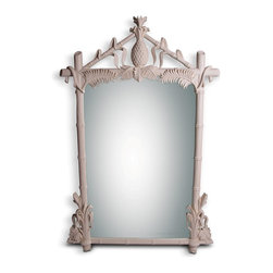 White Tropical Hollywood Regency Mirror - 57 h x 37.5 w