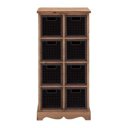 Benzara - Wood Wire Basket Cabinet with Eight Compartments - Wood Wire Basket Cabinet with Eight Compartments. The wood wire Basket cabinet is unique and simple in design. The wood wire Basket cabinet has dimensions of 23 (W) x 15 (D) x 46 (H). Some assembly may be required.