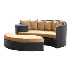 """LexMod - Taiji Outdoor Patio Daybed in Espresso Mocha - Taiji Outdoor Patio Daybed in Espresso Mocha - Harmonize inverse elements with this radically pleasing daybed set. Seven plush throw pillows adorn Taiji's thick all weather orange cushions allowing for the splendorous blending of mediating elements. Find the key to attainment as you bask in a charged and unified landscape of expansiveness. Set Includes: One - Taiji Outdoor Wicker Patio Daybed One - Taiji Outdoor Wicker Patio Ottoman Seven - Taiji Outdoor Wicker Patio Throw Pillows Synthetic Rattan Weave, Powder Coated Aluminum Frame, Water & UV Resistant, Machine Washable Cushion Covers, Ships Pre-Assembled Overall Product Dimensions: 71""""L x 79""""W x 29""""H Daybed Dimensions: 71""""L x 51""""W x 29""""H Ottoman Dimensions: 59""""L x 28""""W x 10""""H Seat Height: 10""""HBACKrest Height: 29""""H - Mid Century Modern Furniture."""