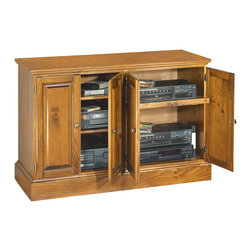 Renovators Supply - Consoles Country Pine Console Entertainment Kit 31'' H | 103210 - Consoles: Organize your TV and audio system in one spot with our compact Merrimack entertainment console. Four door unit is 47 1/4 in. wide x 31 in. high. Features two adjustable shelves and one sliding shelf. Offered as a kit only. Comes unfinished and ready to assemble.
