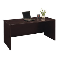 "BBF - BBF Series C 66W Desk Shell - BBF - Computer Desks - WC12942A - Productivity with a smaller footprint the BBF Series C 66""W Desk Shell offers solutions for any sized office. Add pieces from the Series C Collection to fit the way you work. Return Bridges create allow you to create an L-Shape surface to increase your productivity space. Under the surface the Desk Shell accommodates Pedestals to provide additional storage and above the 60""W Hutch is easily accepted. Wire management grommets conceal unsightly cables. Durable thermally laminated Work Surface resists scratches to remain attractive for years. Solid construction meets ANSI/BIFMA test standards in place at time of manufacture; this product is American Made and is backed by BBF 10-Year Warranty."