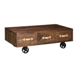 Oaktown 3 Drawer Low Nightstand - Distressed Walnut - This Oaktown 3 Drawer Low Nightstand - Distressed Walnut is the perfect bedside companion for your low slung platform bed. This nightstand is big on industrial chic style and offers a wide top for display pieces. It's well-made of solid Acacia and comes in a distressed walnut finish with contrasting lighter wood pulls. Three drawers provide ample space to stash all nighttime essentials. Large metal wheels make this nightstand mobile.About Zuo ModernZuo Modern designs products with a simple philosophy in mind: clean, modern shapes combined with classic colors. All Zuo Modern products are put through rigorous processes to ensure quality materials and production, ensuring that your item reaches you in top condition. Yet Zuo pieces are modestly priced for today's consumers. Zuo works to inspire a sense of value and worth along with the significance of aesthetics. If it passes the Wow, this feels solid test, along with the This looks amazing and the What a great price test, you know it's a Zuo product.