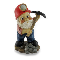 Zeckos - Whimsical Miner Gnome Holding Pickaxe Garden Sculpture - Sometimes breaking up is hard to do, but this gnome makes it look easy With his pickaxe in hand, this miner gnome goes to work on a pile of rocks at his feet, and will lend his charm when you could use a bit of gnome magic in your bed of blooms, vegetable garden plot or at your entryway Sporting a red miner's hat and a pair of overalls, this cast resin garden elf is hand finished in working-gnome style with lightly weathered accents and amazing details. This hard-working gnome statue measures 10 inches (25 cm) high, 7 inches (18 cm) wide and 5.5 inches (14 cm) deep, and would make a wonderful gift any gnome enthusiast is sure to love