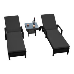 Reef Rattan - Reef Rattan 3 Pc Islander Chaise Lounger Set Black Rattan / Grey Cushions - Reef Rattan 3 Pc Islander Chaise Lounger Set Black Rattan / Grey Cushions. This patio set is made from all-weather resin wicker and produced to fulfill your needs for high quality. The resin wicker in this patio set won't fade, shrink, lose its strength, or snap. UV resistant and water resistant, this patio set is durable and easy to maintain. A rust-free powder-coated aluminum frame provides strength to withstand years of use. Sunbrella fabrics on patio furniture lends you the sophistication of a five star hotel, right in your outdoor living space, featuring industry leading Sunbrella fabrics. Designed to reflect that ultra-chic look, and with superior resistance to the elements in a variety of climates, the series stands for comfort, class, and constancy. Recreating the poolside high end feel of an upmarket hotel for outdoor living in a residence or commercial space is easy with this patio furniture. After all, you want a set of patio furniture that's going to look great, and do so for the long-term. The canvas-like fabrics which are designed by Sunbrella utilize the latest synthetic fiber technology are engineered to resist stains and UV fading. This is patio furniture that is made to endure, along with the classic look they represent. When you're creating a comfortable and stylish outdoor room, you're looking for the best quality at a price that makes sense. Resin wicker looks like natural wicker but is made of synthetic polyethylene fiber. Resin wicker is durable & easy to maintain and resistant against the elements. UV Resistant Wicker. Welded aluminum frame is nearly in-destructible and rust free. Stain resistant sunbrella cushions are double-stitched for strength and are fully machine washable. Removable covers made with commercial grade zippers. Tables include tempered glass top. 5 year warranty on this product. PLEASE NOTE: Throw pillows are NOT included. Chaise Loung