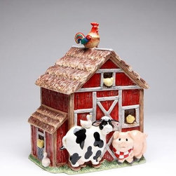 ATD - 10.38 Inch Red and Brown Barn Cookie Jar with Farm Animals - This gorgeous 10.38 Inch Red and Brown Barn Cookie Jar with Farm Animals has the finest details and highest quality you will find anywhere! 10.38 Inch Red and Brown Barn Cookie Jar with Farm Animals is truly remarkable.