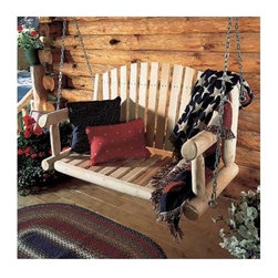 "Rustic Cedar - Porch Swing - Create rustic inspiration in your garden or on your patio with these popular swings. This traditional style features durable construction and rust-resistant coated hardware to ensure years of enjoyment. Add splashes of color and comfort with Rustic's fade resistant, all-weather cushions. Features: -Indoor and outdoor use.-Naturally decay and insect resistant.-Custom cushion available, sold separately.-Swing Finish: Natural.-Distressed: No.-Powder Coated Finish: No.-Swing Frame Material: Wood.-Solid Wood Construction: Yes.-Hardware Included: Yes.-Hardware Material: Zinc plated.-UV Resistant: No.-Mildew Resistant: Yes.-Fade Resistant: No.-Frame Included: No.-Chain Included: Yes.-Chain Material: Steel chain.-Canopy Included: No.-Cushion: Yes.-Cushions Included: No.-Removable Cushion: No.-Cushion Attachment Detail: No.-Removable Cushion Cover: No.-Cushion Fabric Material: No.-Cushion Fill Material: No.-Cushion Fade Resistant: No.-Water Resistant or Waterproof: Water resistant.-Tufted Cushions: No.-Welt on Cushions: No.-Toss Pillows Included: No.-Seating Capacity: 2.-Weight Capacity: 750 lbs.-Commercial Use: Yes.-Recycled Content: 0%.-Eco-Friendly: Yes.-Country of Manufacture: Canada.Dimensions: -Porch Swing Height - Top to Bottom: 26"".-Porch Swing Width - Side to Side: 47''.-Porch Swing Depth - Front to Back: 17.5''.-Chain Length: 44"".-Overall Product Weight: 50 lbs.Assembly: -Assembly Required: Yes.Warranty: -Product Warranty: 5 Year limited."