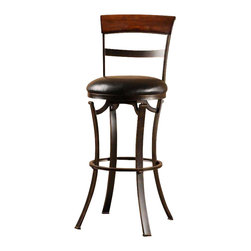 Hillsdale Furniture - Hillsdale Kennedy Swivel Bar Stool in Black & Gold - The Kennedy Stool is a chic classic with a modern edge. With its flat legs, black gold metal finish and simply styled back, it is a sleek addition to any room. The 360 degree swivel seat is covered in black, while the stool back is finished in cherry wood. The stool is available in both bar and counter heights. Some assembly is required.