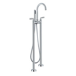 Varese - Chrome Finish Two Handle Modern freestanding bathtub faucet - The Varese is a freestanding bathtub faucet consists of a solid brass body for durability and features a sleek chrome finish that ties in beautifully with any modern look. Designed for use with a freestanding tub, the Varese is perfect for adding a touch of contemporary style to your bathroom. Overall, the faucet embraces the latest trend in luxury modern bathroom design.