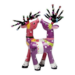 Apple Tree - Purple and Pink Magnetic Reindeers Salt and Pepper Shakers - This gorgeous Purple and Pink Magnetic Reindeers Salt and Pepper Shakers has the finest details and highest quality you will find anywhere! Purple and Pink Magnetic Reindeers Salt and Pepper Shakers is truly remarkable.