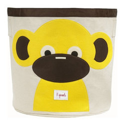 3 Sprouts - 3 Sprouts Storage Bin, Monkey - Help your kids clean up their acts with our cute monkey pattern animal storage bins in yellow from 3 Sprouts . This bin is well sized for storing toys or as a laundry hamper. The bin collapses for easy storage when not in use. It is made up of 100% cotton canvas and coated on the inside for easy cleaning. It is the perfect gift for babies and toddlers.
