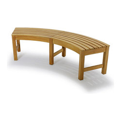 Westminster Teak Furniture - Buckingham Backless Bench - Gather 'round the campfire (or fire pit) with this curved bench. Place several together to form a circle, or create a zigzagging line to mix things up. Made of waterproof premium teak, it weathers the elements beautifully, so you can enjoy it year-round.