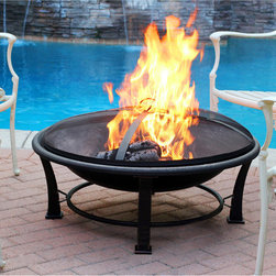 Jeco - 35-inch Golden Brush Steel Fire Pit - Entertain family and friends all year long with this brushsteel fire pit. This fire pit is perfect for a small cozy get-together on your patio or for adding to the atmosphere of a larger party or celebration.