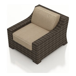 Bayside Outdoor Wicker Club Chair, Beige Cushions