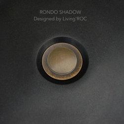 "ROUND BLACK GRANITE BATHROOM VESSEL SINK 16""x4""-RONDO SHADOW - Reference: BB507B-US"