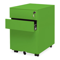 Blu Dot - Blu Dot Filing Cabinet No. 1, Grass - Straighten up. This modern file pedestal gets the job done. A clean, powder coated steel exterior allows this unit to sit quietly in any environment, residential or commercial. It's so unassuming we named it Filing Cabinet No. 1. Locking file storage accommodates standard sized files. Oh, and it has wheels, too.