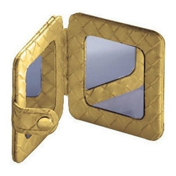 Gedy - Square Pocket Hand Mirror, Gold - Need a hand mirror? This one is a free standing contemporary & modern hand mirror that will fit perfectly into your contemporary bathroom.