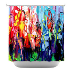 DiaNoche Designs - Shower Curtain Artistic - In the Company of Strangers - DiaNoche Designs works with artists from around the world to bring unique, artistic products to decorate all aspects of your home.  Our designer Shower Curtains will be the talk of every guest to visit your bathroom!  Our Shower Curtains have Sewn reinforced holes for curtain rings, Shower Curtain Rings Not Included.  Dye Sublimation printing adheres the ink to the material for long life and durability. Machine Wash upon arrival for maximum softness. Made in USA.  Shower Curtain Rings Not Included.