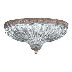 Schonbek Lighting - Schonbek Lighting 5631-84 Milano Royal Pewter Flush Mount - 3 Bulbs, Bulb Type: 40 Watt Incandescent; Product made-to-order, 6-8 week lead time