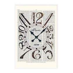 "Zlatka Paneva Framed Print, Vintage Clock, No Mat, 28 x 42"", White - These vintage prints cover an eclectic range of subjects, from an old gramophone to a golden olive branch. They are endlessly fascinating to look at, as each one features layers of collage using old book pages as a canvas for full color, and black and white drawings and prints. 11"" wide x 13"" high 16"" wide x 20"" high 28"" wide x 42"" high Alder wood frame. Black or white painted finish; or espresso stained finish. Beveled white mat is archival quality and acid-free. Available with or without a mat."