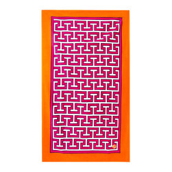 "Jonathan Adler - Jonathan Adler Mykonos Pink Beach Towel - Jonathan Adler's Mykonos beach towel delivers a bold graphic design. Plush and oversized, this terry cloth cover captivates in a bright pink, white and orange Greek key pattern. 40""W x 70""H; 100% cotton; Hand-dyed; Machine wash warm"
